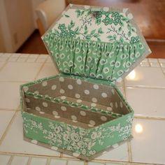 松尾捺染の布で八角形の小箱 - 文鳥日記