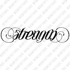 Strength / Courage Ambigram Tattoo Instant Download (Design + Stencil) STYLE: D - Wow Tattoos