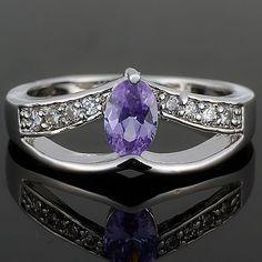 RB1093EBL 18KGP Oval Cut Tanzanite Cubic Zirconia Custom Jewelry Fashion Ring US $4.99