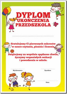 "Dyplom: Ukończenia Przedszkola ""Dzieci 7"" SzkolneNaklejki.pl Education, Google, Degree Of A Polynomial, Educational Illustrations, Learning, Onderwijs, Studying"