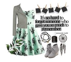 """""""Mint memories"""" by sillytan ❤ liked on Polyvore featuring WithChic, IRO, Feather & Stone, Polaroid, Essie, Winter, memories and mint"""