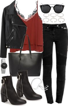 Outfit with jeans and a leather jacket by ferned featuring cateye sunglasses Zara cami tank, 54 AUD / Acne Studios real leather jacket, 1 670 AUD / Kiki de Montparnasse soft cup bra / AllSaints biker jeans, 170 AUD / Topshop black bootie, 205 AUD /...