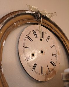 Over-sized frame on an old clock face
