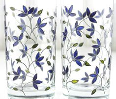 Hand Painted Glasses Tumblers Water Glasses by witchcorner