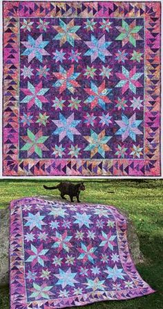 My Two Baby Sisters Quilt Featuring Miss Katonic, AKA Kitty Carlisle Patchwork Quilt Patterns, Batik Quilts, Cotton Quilting Fabric, Applique Quilts, Denim Quilts, Star Quilts, Quilt Blocks, Flying Geese Quilt, Purple Quilts