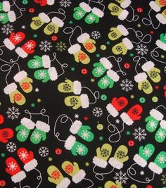 Noel Collection-Christmas Noel Mini Mittens Fabric