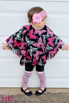 Girls Poncho, Toddler Legwarmers, Crochet Flower Headband!  FUNKY FLEECE - my company...my PASSION! www.funkyfleece.com