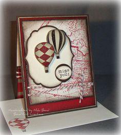 Missing you Hot Air Balloon card