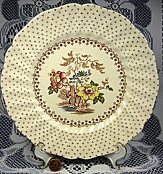 Royal Doulton Grantham Luncheon Plate Brown Transferware. Click on the image for more information.
