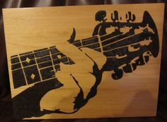 """I titled this """"strummin'"""".and gifted it to Crystal Bowersox at The Ark, in Michigan Wood Burning Stencils, Wood Burning Crafts, Wood Burning Patterns, Wood Burning Art, Wood Crafts, Pyrography Designs, Pyrography Patterns, Gun Powder Art, Simple Wood Carving"""