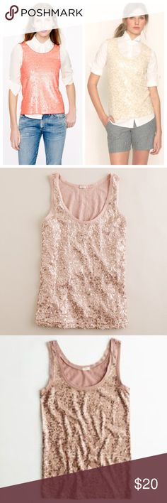 """30% OFF BUNDLES J. Crew Sparkling Series Tank Top Add a little J. Crew sparkle to your life! Perfect to wear over white t-shirts or button downs to spice up your office looks. Bust(underarm to underarm):18"""" Total Length:26"""" All measurements are taken with the item laid flat.  Condition: EUC (Excellent Used Condition) Fitted look Color: Pink with sequins 30% off on bundles // I ship same-day from pet/smoke-free home. Buy with confidence. I am a top seller with close to 500 5-star ratings and…"""