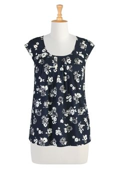Floral print cotton blouse with pleats at scoop neck and raglan cap sleeves