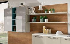 Cucina angolare moderna - Composizione 0463 - Dettaglio pensili e boiserie con mensole