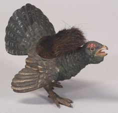 Viennese Cold Painted Bronze Bird-form Pen Wipe