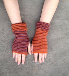 Arm Warmers Fingerless Gloves Orange and Blue by deliriumkredens