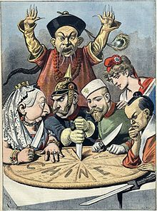 A French political cartoon depicting China as a king cake is about to be carved up by Queen Victoria (Britain), Wilhelm II (Germany), Nicolas II (Russia), Marianne (France), and a samurai (Japan) while a Mandarin official helplessly looks on.