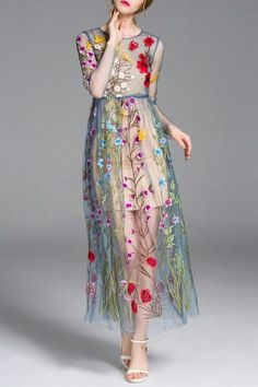 Flower embroidered tulle summer dress