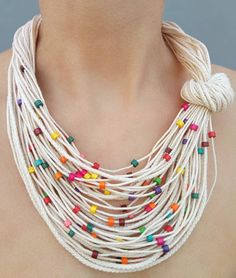 Rainbow summer necklace Knot fiber bib jewelry Small multicolor wooden beads White cord necklace Neck accessory Sister boho gift - Multicolor summer necklace Multicolor wood bead Summer knot necklace Statement necklace Colorful be - Diamond Bar Necklace, Bold Necklace, Summer Necklace, Knot Necklace, Tribal Necklace, Beaded Necklace, Beaded Bracelets, Leather Necklace, Collar Necklace