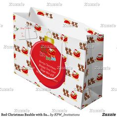 Red Christmas Bauble with Santa's & Sleigh Large Gift Bag
