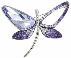 "Stylized Butterfly Swarovski Elements Crystal Brooch Pin (Purple) Arco Iris Jewelry. $31.95. Stylized Butterfly Swarovski Elements Crystal Brooch Pin (Purple). High - 2"". Width - 2-1/4"". Save 66% Off!"