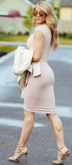 #fall #trending #outfits | Blush Bodycon Midi Dress