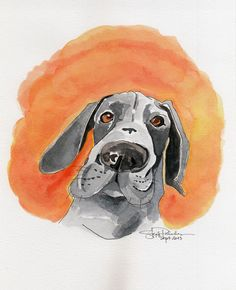 Woof! I can paint doggies, too! :) I took it out of my Moleskine and had it framed, along with my other cat and dog portraits. Will sell it to raise funds for my favorite organizations, CARA and PAWS. :D