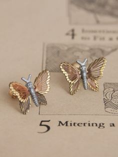 Mixed Metal Butterfly Studs