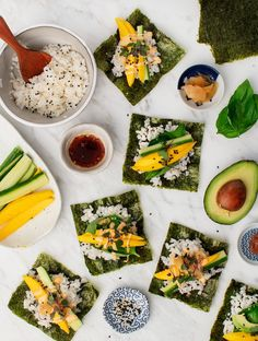 These mango cucumber nori wraps a quick, refreshing lunch or party appetizer! Inspired by veggie sushi, they're filled with rice and creamy, spicy mayo. Gluten-free with a vegan option.