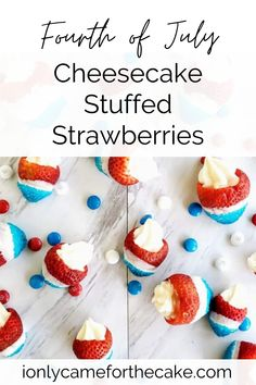 Looking for a healthier and super easy 4th of July dessert? Look no further than these patriotic cheesecake stuffed strawberries. You can have these finished in under 20 minutes, making them a fast holiday dessert perfect for picnics. #patrioticdessert #healthydessert #easydessert #picnicrecipeideas #picnicdesserts Patriotic Desserts, 4th Of July Desserts, Small Desserts, Holiday Desserts, Easy Desserts, Sweet Desserts, Picnic Desserts, Mini Dessert Recipes, Stuffed Strawberries