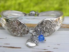 Spoon handle bracelet  teacher apple charm by WhisperingMetalworks