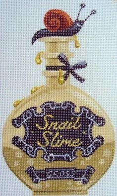 Snail Slime Halloween Bottle needlepoint canvas from Kirk & Bradley