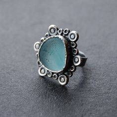 Tania Covo - Genuine Blue English Sea Glass Flower Ring