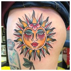 Traditional Sun Tattoo On Thigh