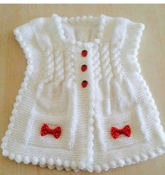 Here is a demonstration of How to Knit Integrated Vandyke Lace Vest with flowers on the front and crochet edging One piece Please, check out my other tutoria. Diy Crafts Knitting, Diy Crafts Crochet, Lace Knitting, Baby Knitting Patterns, Knit Crochet, Knit Lace, Filet Crochet, Baby Cardigan, Vestidos Bebe Crochet