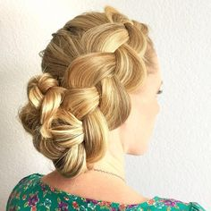 Dutch Braided Updo by hairbykatiegunnell that looks amazing on thick hair!