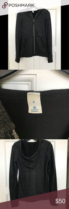 Lululemon Black Wool Hoodie Size 4 Lululemon Black Wool Lined Hoodie Very comfortable Size 4. Nicely finished with details. Very good condition Smokefree/Animal Free home lululemon athletica Tops