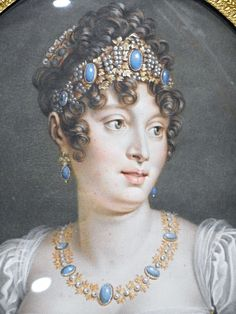 Caroline Bonaparte, Napoleon's sister and Joachim Murat's wife, Queen of Naples - miniature on ivory 19th century - Paris, Foundation Napoléon, now at exhibition on Joachim Murat at Royal Palace of Naples