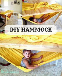 Hammock made by wrapping a large piece of fabric around a table. Kids will love this!