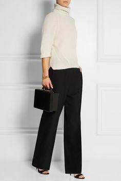 Agnona cashmere and mohair-blend turtleneck   Haider Ackermann wool pants   Mark Crossbox bag   Miu Miu suede sandals