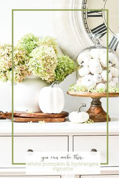 Create a beautiful and easy fall vignette using a cloche and white pumpkins. Step-by-step easy diy and directions with lots of easy to understand design theory! Faux Pumpkins, Velvet Pumpkins, White Pumpkins, Painted Pumpkins, Fall Home Decor, Autumn Home, Fall Vignettes, Monochromatic Color Scheme, Outdoor Wreaths