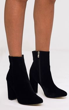 67b4d1bc0f6466 Behati Black Faux Suede Ankle Boots