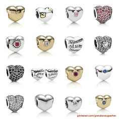 Photos from pandora.net.  Collage of every heart shaped Pandora charm I could find :) Awesome selection