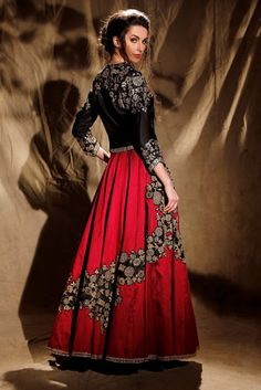 Z Fashion Trend: BLACK AND MAROON INDO WESTERN DESIGNER DRESS