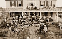 """Cast and crew at Clara's on last day of filming the """"Lonesome Dove"""" miniseries."""