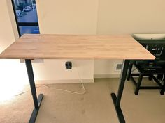 Instructions for how to affix an Ikea Gerton table top to the Ikea Bekant sit-stand desk frame.
