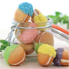 Dipping your macaroons and whoopie pies in colourful vermicelli adds colour and texture to these sweet treats.
