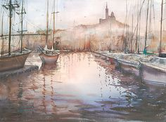 Marseille Vieux Port, France V. Watercolor on Paper 21 x 29 inches. Her work has been purchased by private and corporate collectors from all around the world. She also had her paintings published in leading art magazines in the U.S., France and Japan.