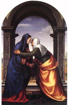 Imaginação de Mariotto Albertinelli de Isabel (à direita), aqui retratada com Maria.