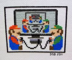 Mario and Luigi infinity cross stitch Cross Stitching, Cross Stitch Embroidery, Embroidery Patterns, Hand Embroidery, Perler Bead Mario, Perler Beads, Mario And Luigi, Mario Bros, Mario Brothers