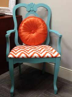 Repurposed Dining Chairs | ... like this for a repurposed dining room chair...a more muted orange